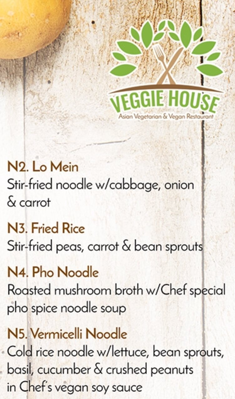 Veggie House menu - noodles and rice 2