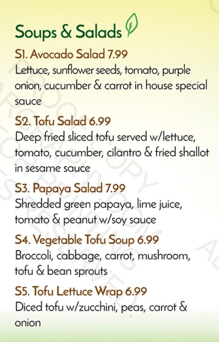 Veggie House menu - soups and salads