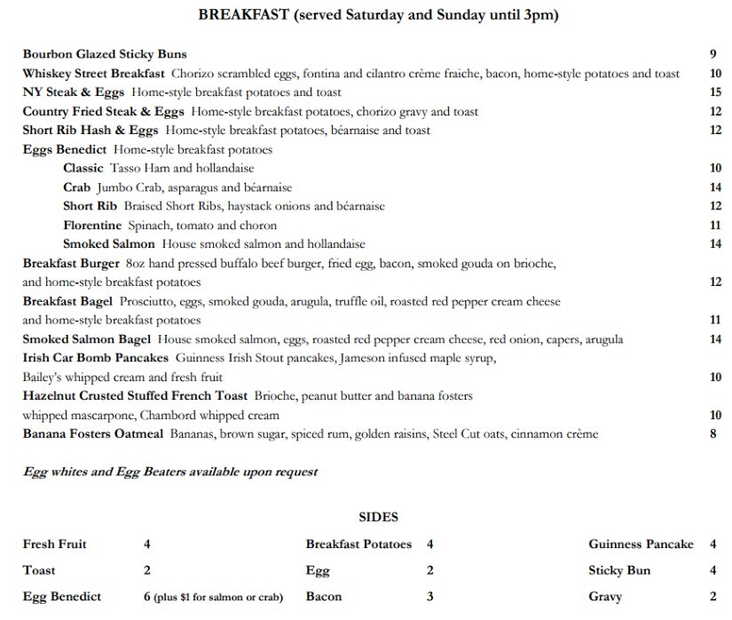 Whiskey Street menu - breakfast and brunch