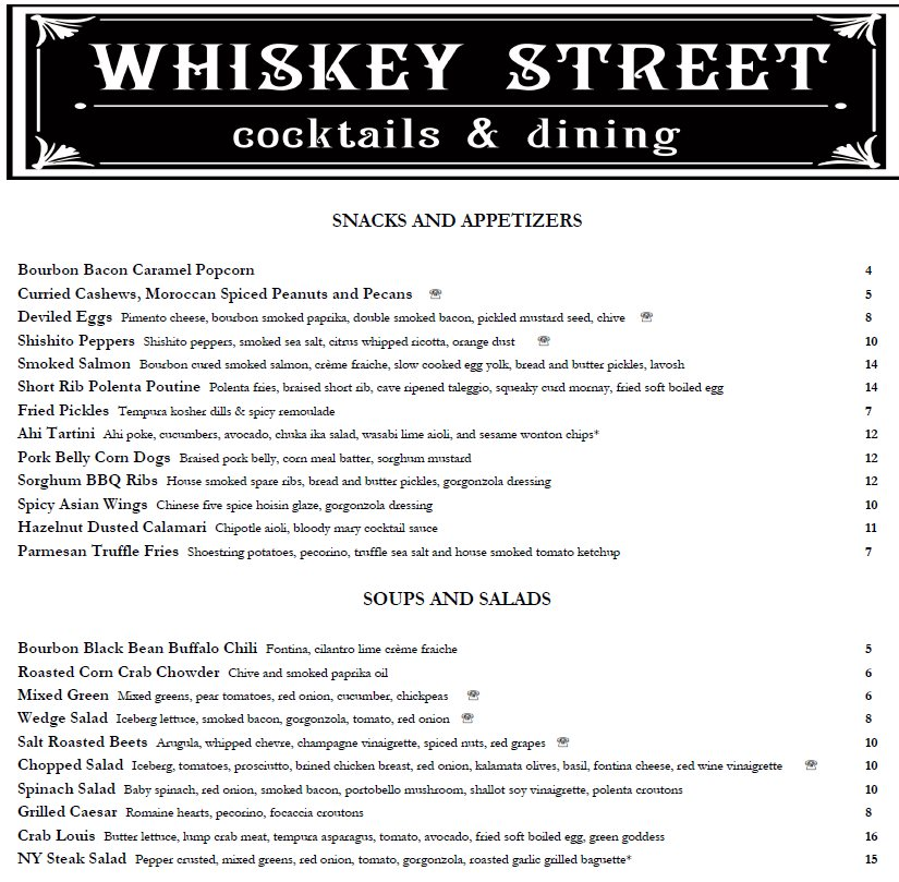 Whiskey Street menu - snacks, appetizers, soups and salads