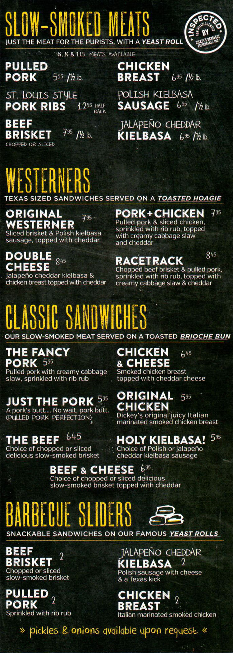 Dickey's Barbecue Pit SLC menu - BBQ meats, sandwiches, sliders