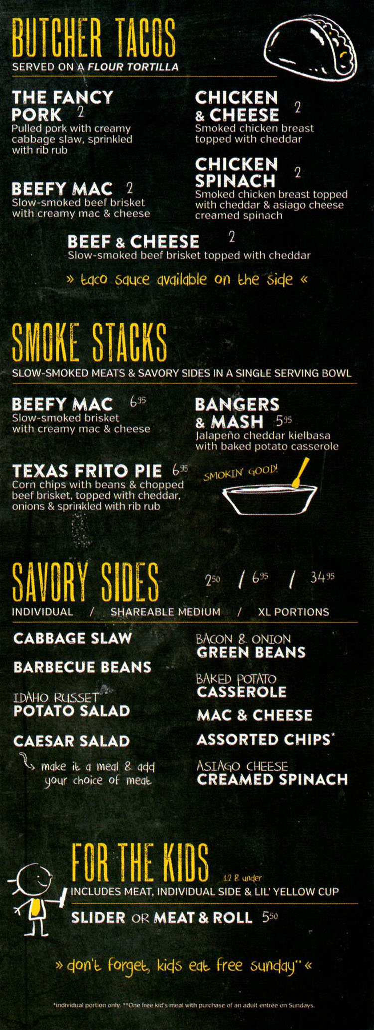 Dickey's Barbecue Pit SLC menu - tacos, bowls, sides