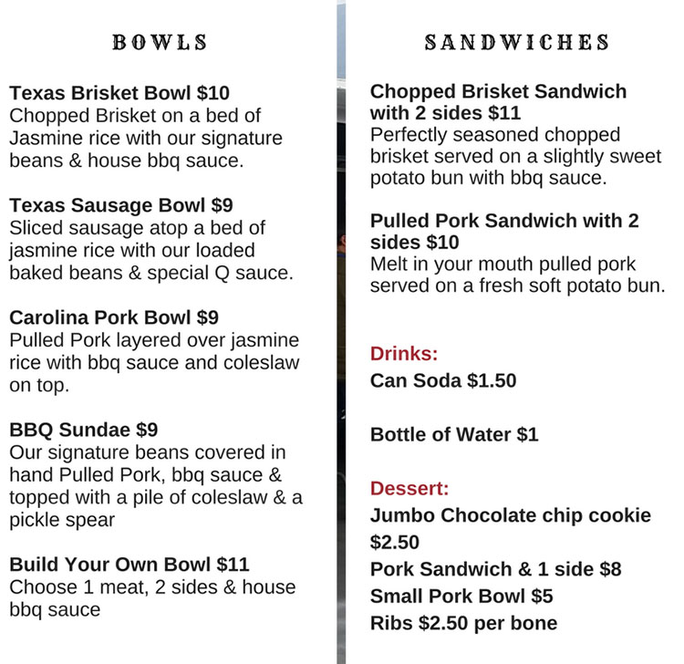Smokin Star BBQ food truck menu - bowls and sandwiches