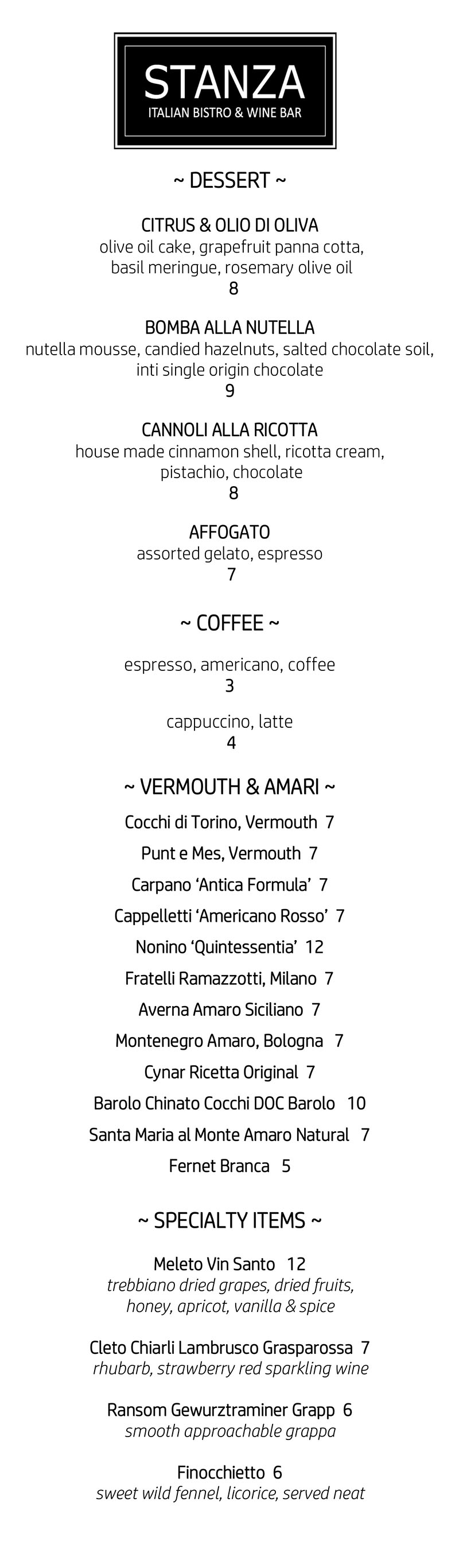 Stanza Italian Bistro - dessert menu