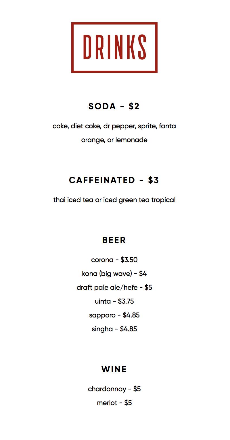 565 Firehouse menu - drinks