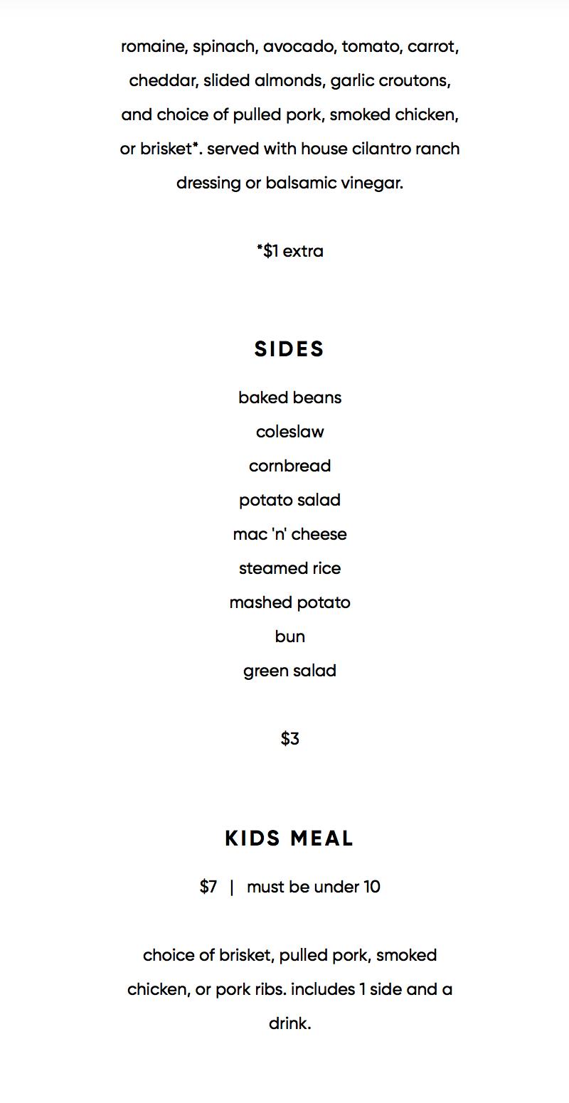 565 Firehouse menu - salads and sides