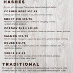 Billy B's Hash House menu
