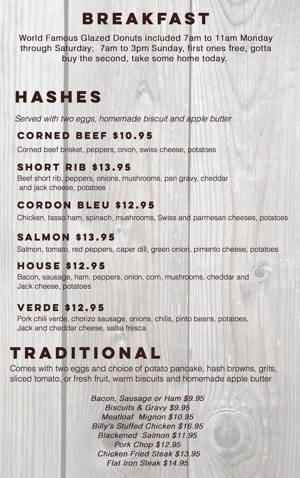 Billy B's Hash House menu - breakfast