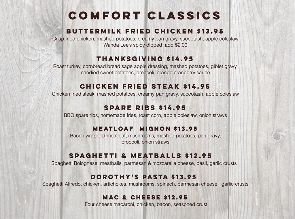 Billy B's Hash House menu - comfort classics
