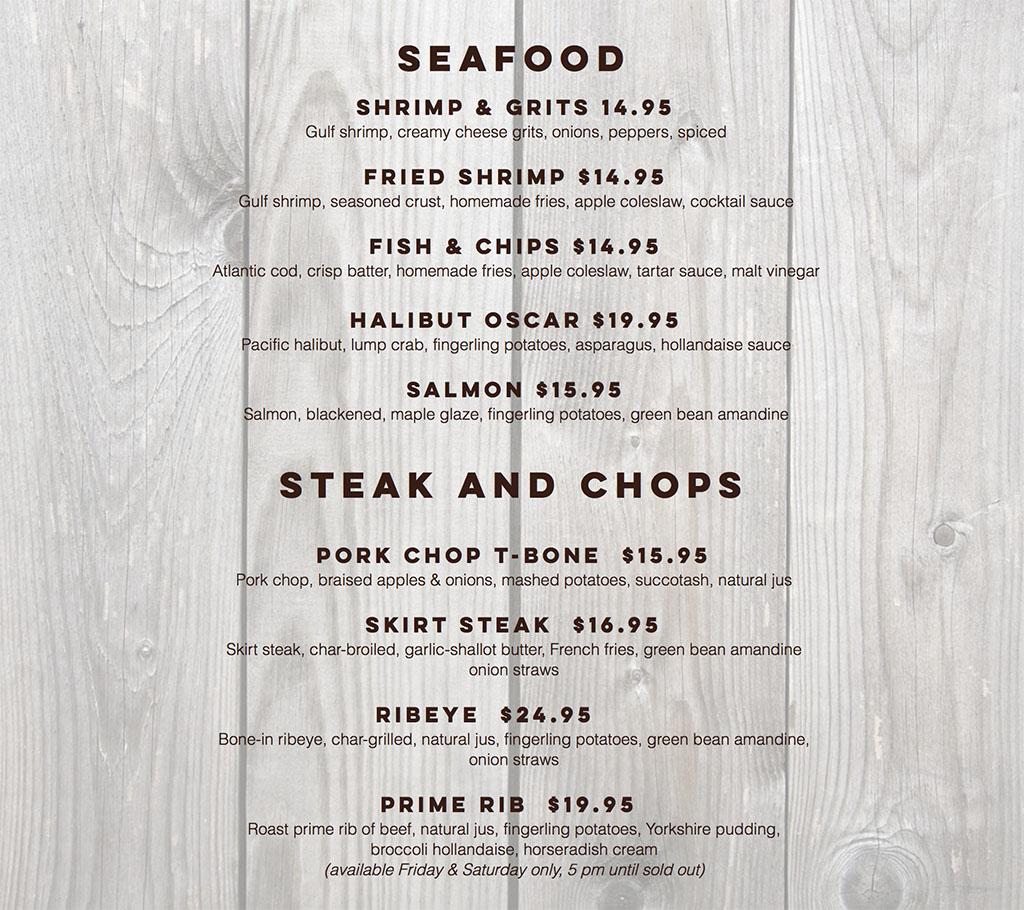 Billy B's Hash House menu - seafood, steak and chops