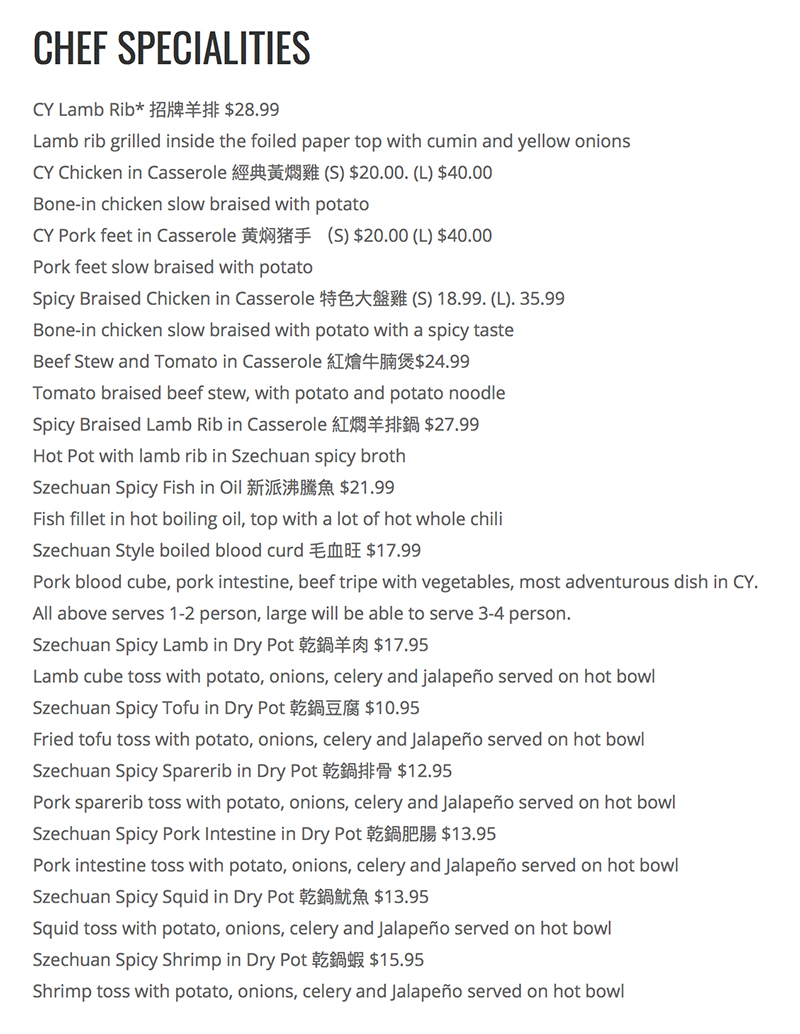 CY Noodle And Chinese Restaurant menu - chef specialities