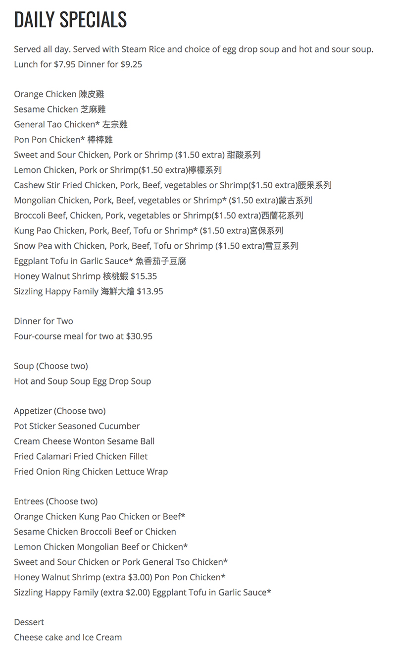 CY Noodle And Chinese Restaurant menu - dailys specials