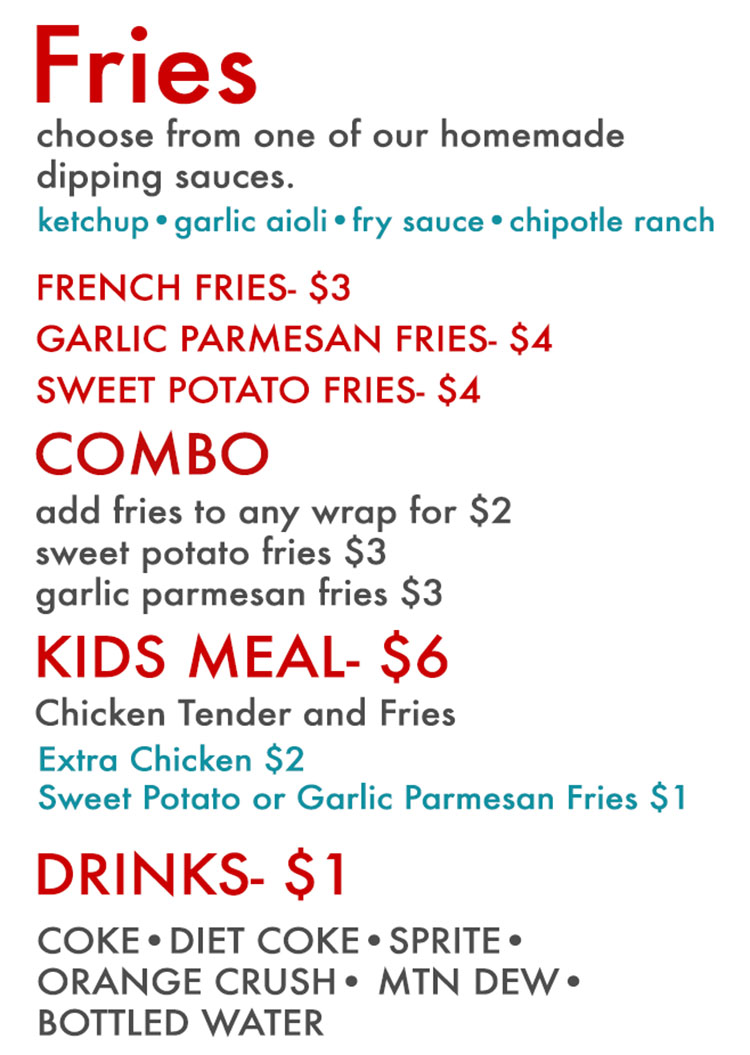 Cluck Truck food truck menu - fries, combo, meals, drinks