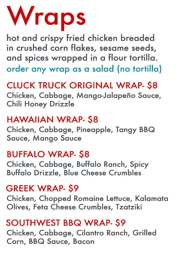 Cluck Truck food truck menu - wraps