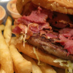 Crown Burgers - burger with pastrami and fries