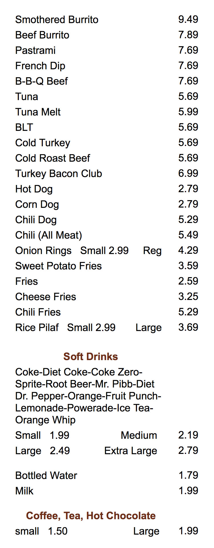 Crown Burgers menu - sandwiches, sides and drinks