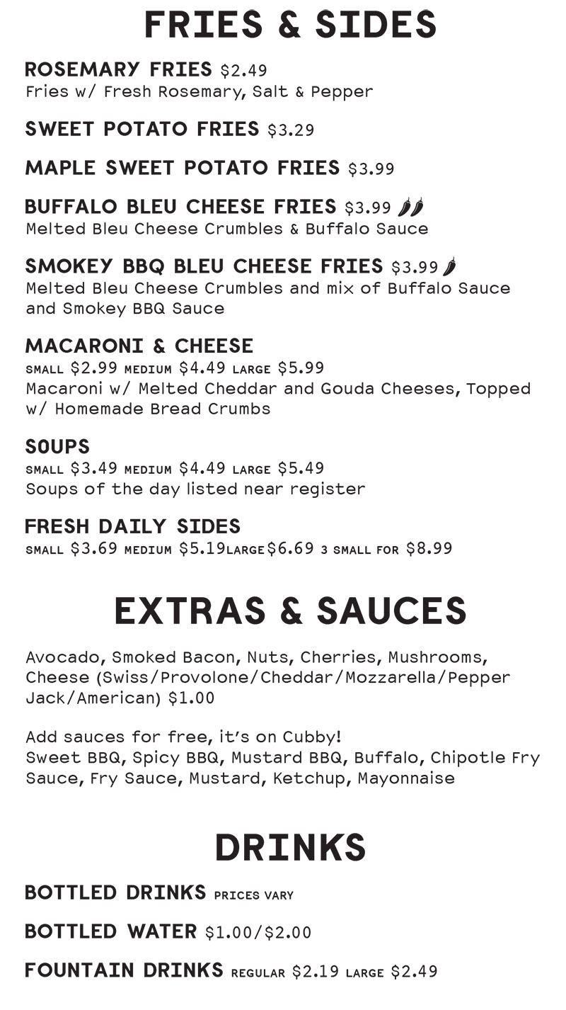 Cubbys Chicago Beef menu - fries, sides, sauces, extras, drinks