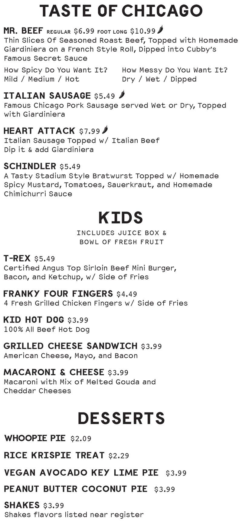 Cubbys Chicago Beef menu - taste of chicago, kids, desserts
