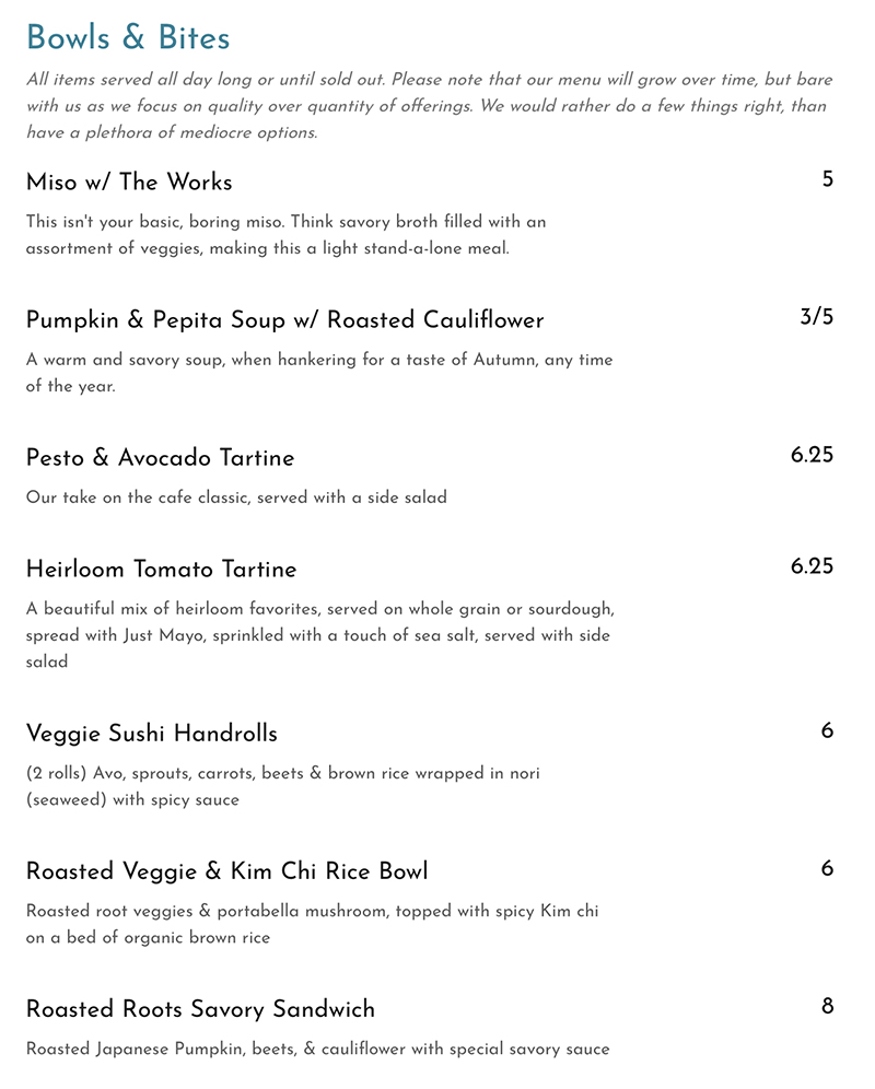 Cuppa menu - bowls and bites