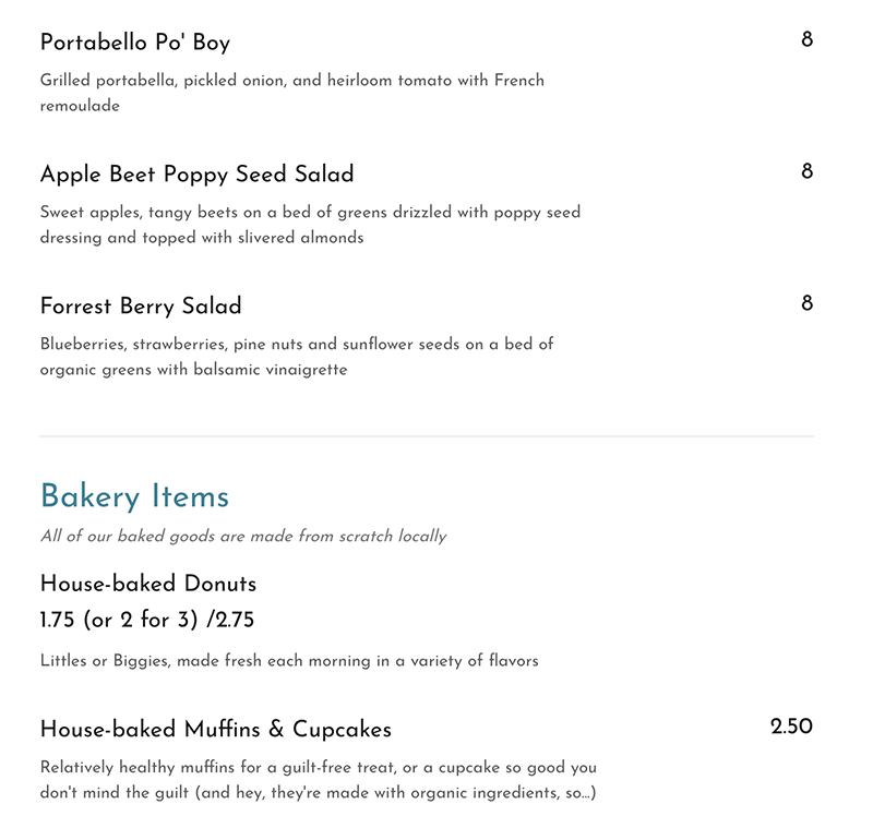 Cuppa menu - more bowls and bites and bakery