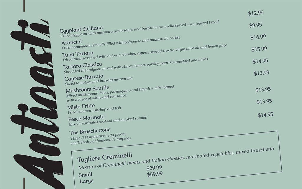 Dolce Sicilia Sugar House menu - antipasti
