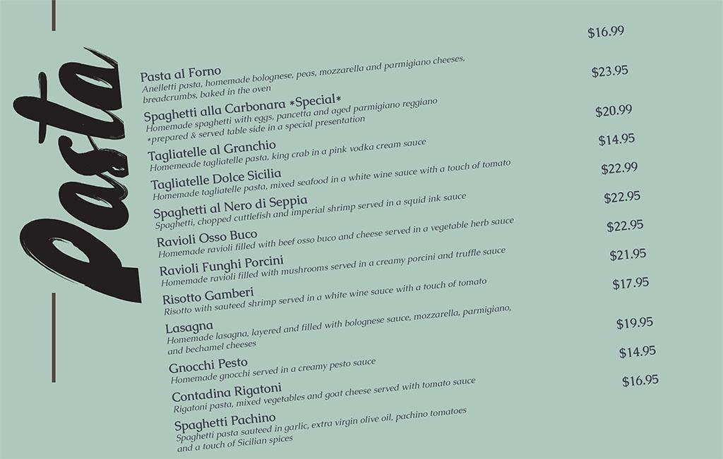 Dolce Sicilia Sugar House menu - pasta