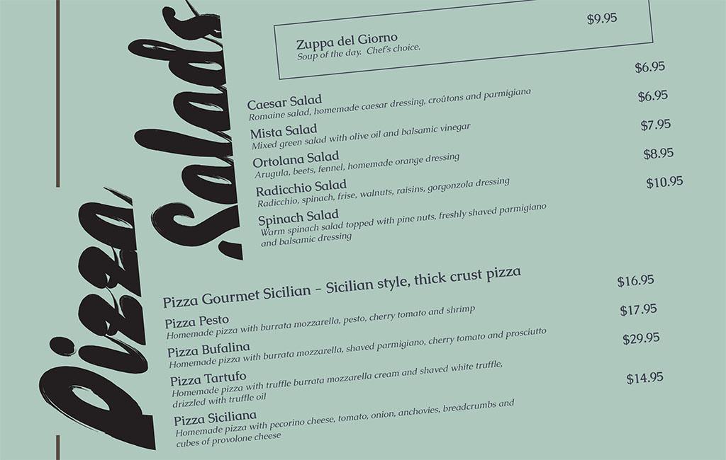 Dolce Sicilia Sugar House menu - salads and pizza
