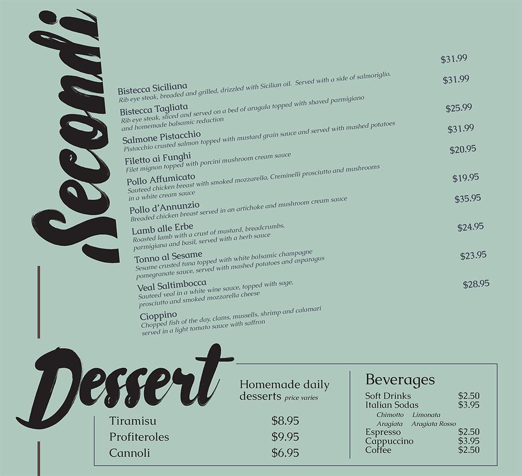 Dolce Sicilia Sugar House menu - second and dessert