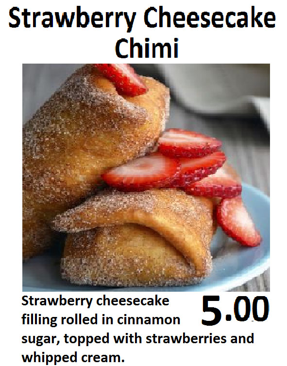 Fry Me To The Moon food truck menu - cheesecake chimi