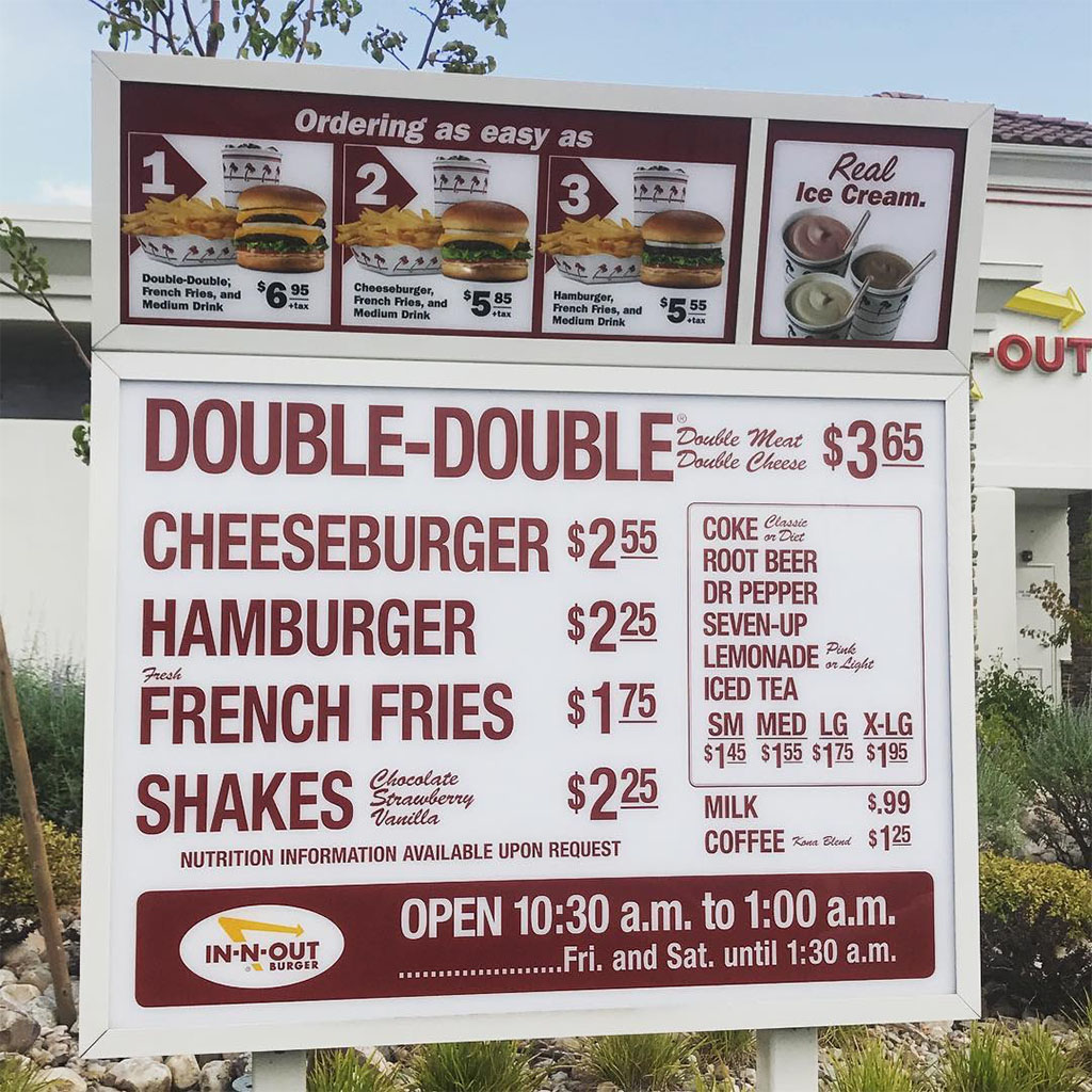 In N Out Burger menu with prices - American Fork Utah 2017