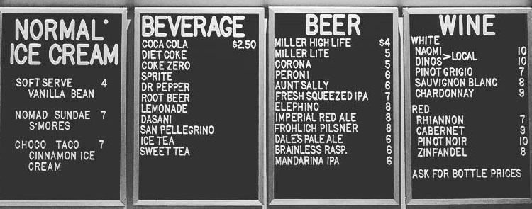 Nomad Eatery menu - beverages, beer, wine, ice cream