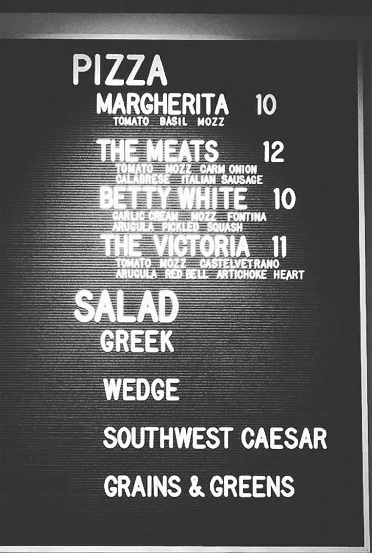 Nomad Eatery menu - pizza, salads