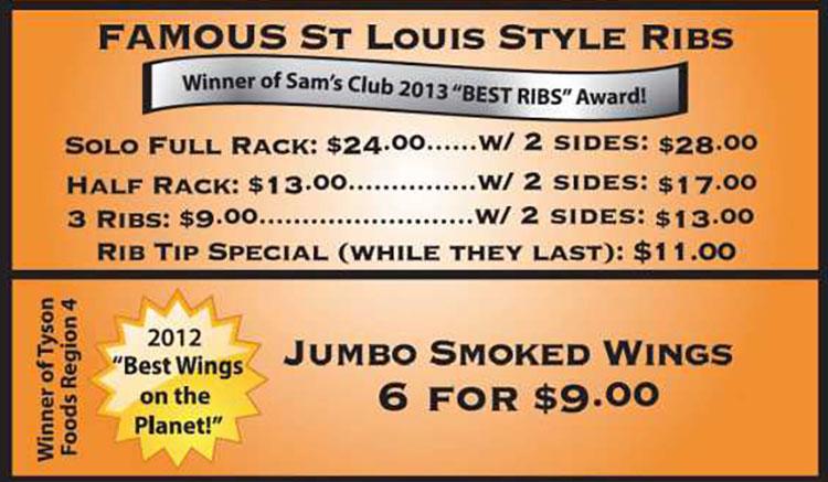 Q4U BBQ food truck menu - ribs, wings