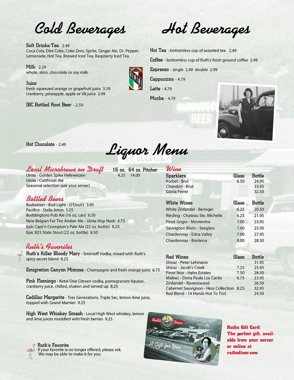Ruths Diner menu - beverages