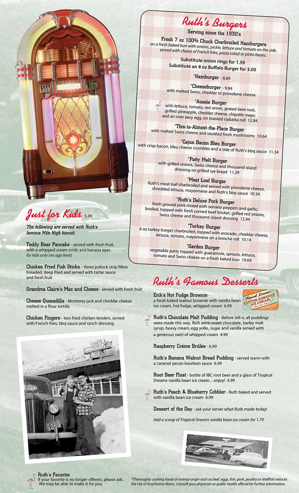 Ruths Diner menu - burgers, kids, desserts