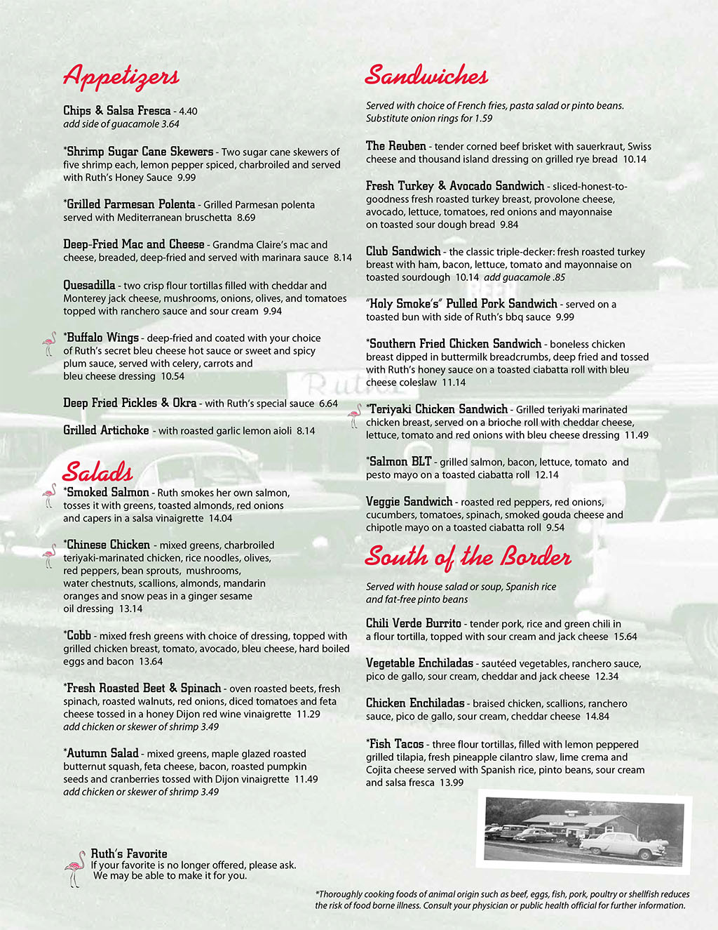 Ruths Diner menu - dinner, apps, salads, sandwiches, south of the border