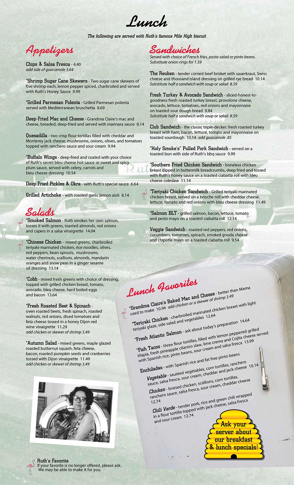 Ruths Diner menu - lunch, apps, salads, sandwiches
