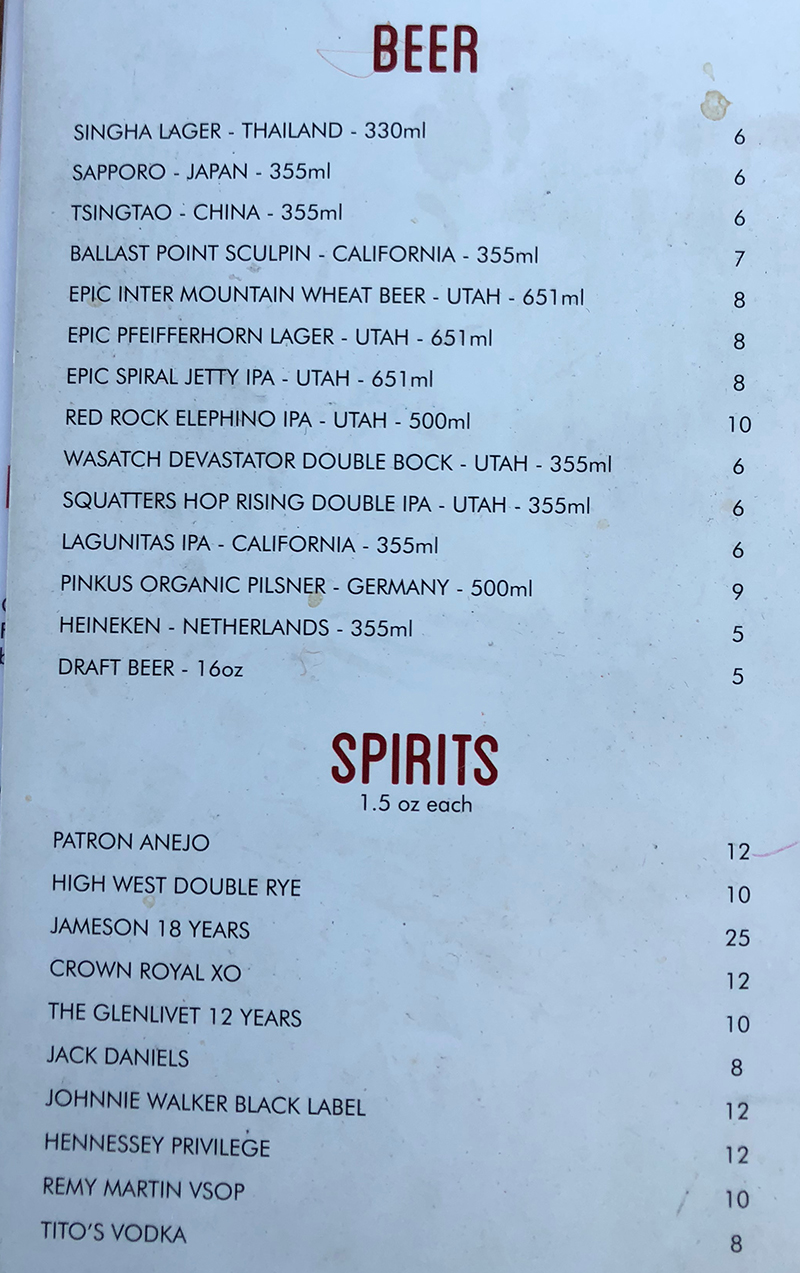 SOMI Vietnamese Bistro menu - beer and spirits