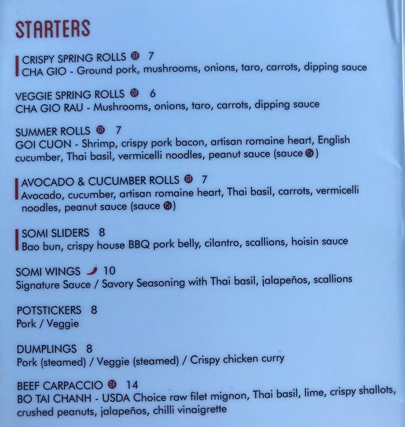 SOMI Vietnamese Bistro menu - starters