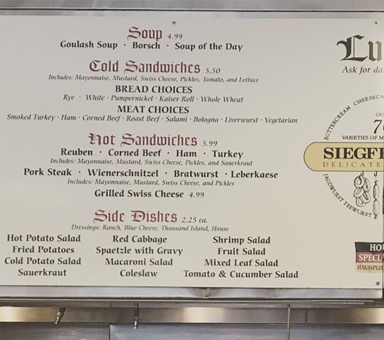 Siegfried's Delicatessen menu - soups, sandwiches, sides