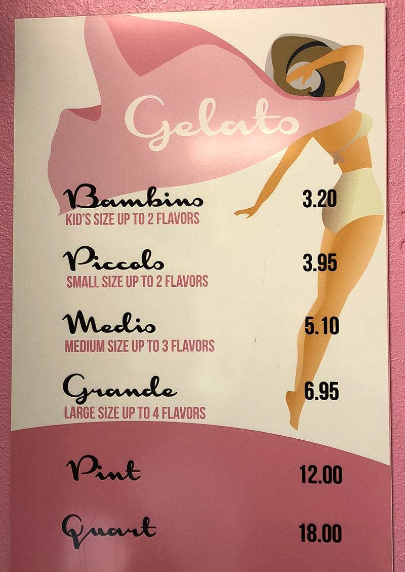 Sweetaly Gelato menu - gelato