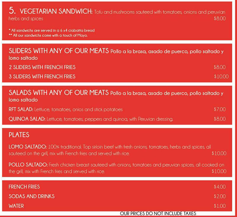 The Red Food Truck menu - page two