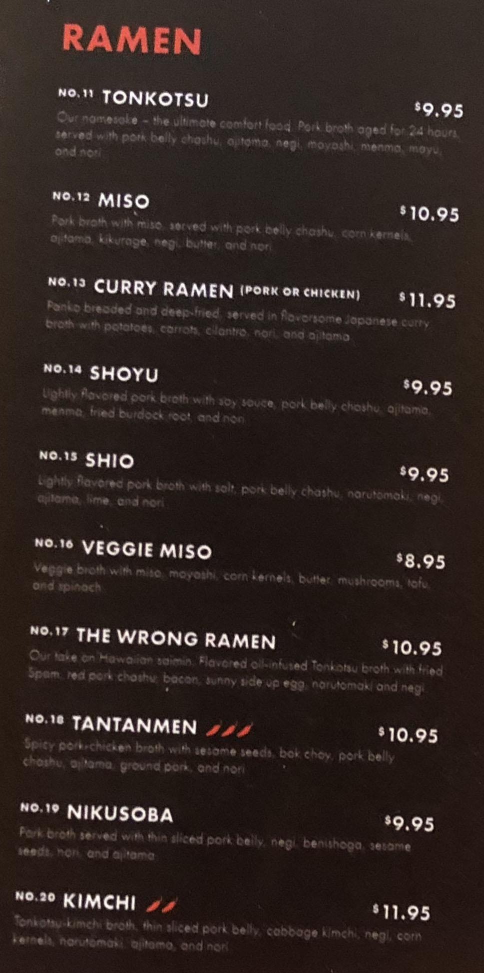 Tonkotsu Ramen Bar menu - ramen