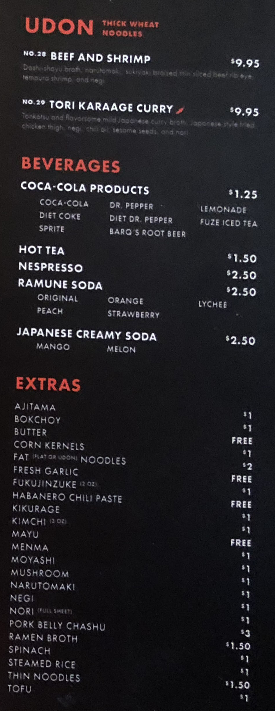 Tonkotsu Ramen Bar menu - udon, beverages, extras