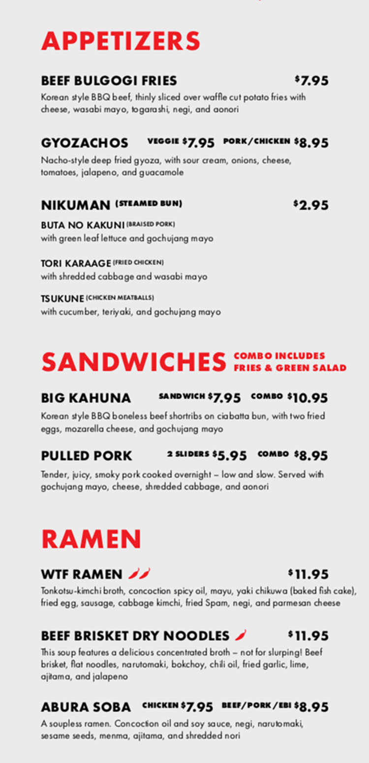 Tonkotsu specials menu - appetizers, sandwiches, ramen