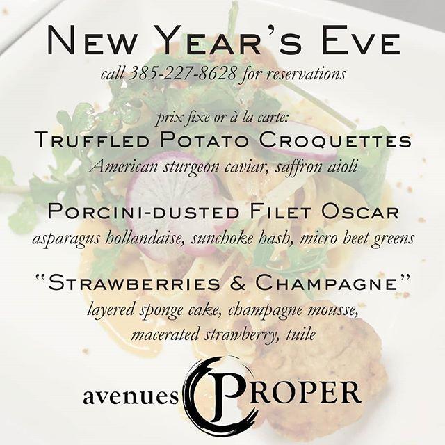 Avenues Proper NYE 2017 menu