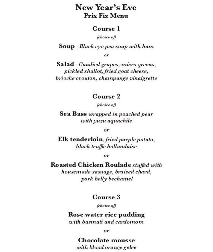 Elements Bistro NYE 2017 menu