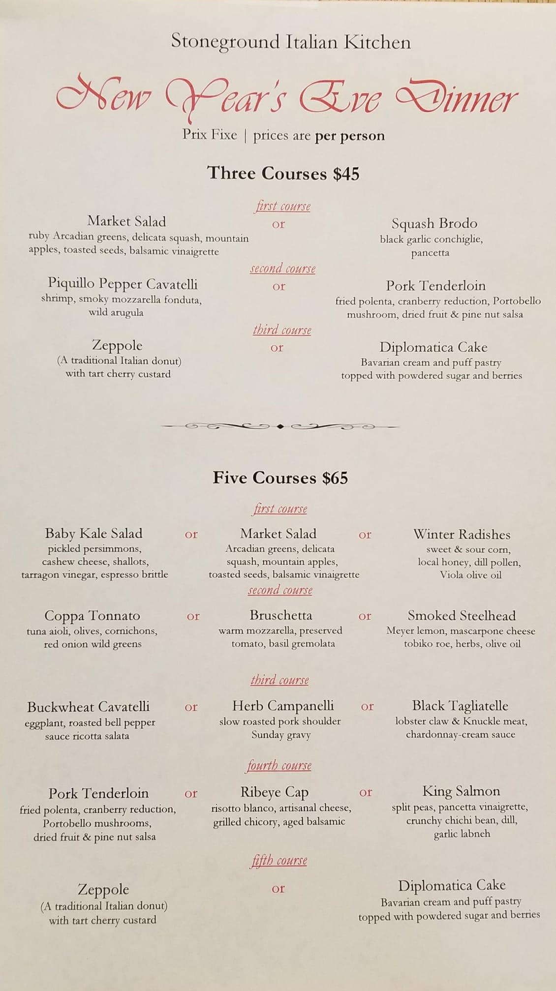 Stoneground NYE 2017 menu