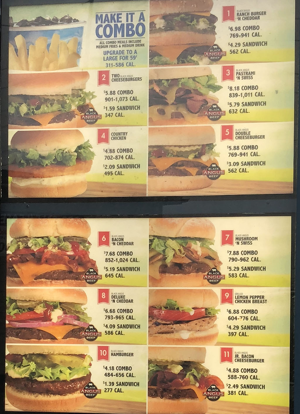 Arctic Circle menu - burgers, sandwiches, combos