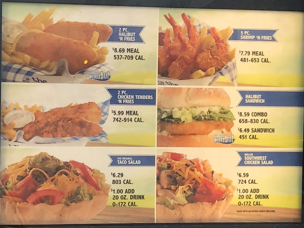 Arctic Circle menu - fish, chicken, salads